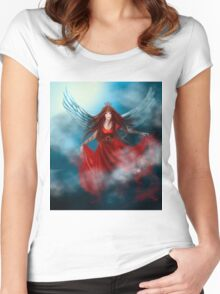 Woman queen with wings in red dress Women's Fitted Scoop T-Shirt