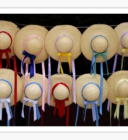Straw Hats and Ribbons Sticker