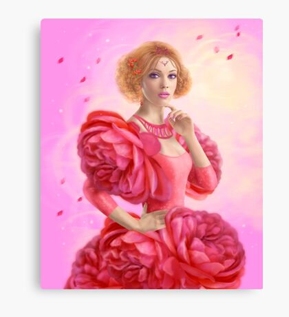 beautiful Fantasy fairy woman with rose  flowers Canvas Print