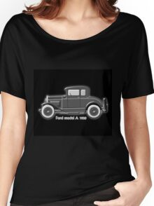 A digital painting of my vector drawing of The Ford Model A of the 1930s in greyscale Women's Relaxed Fit T-Shirt