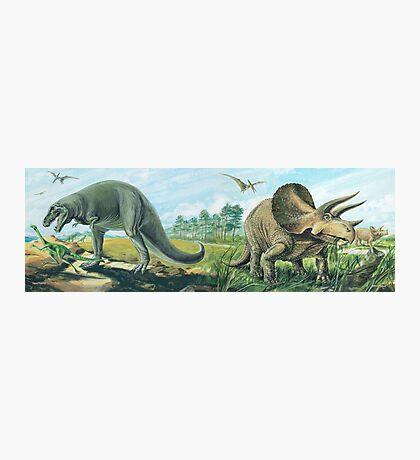Tyrannosaurus Rex & Triceratops Frieze Photographic Print