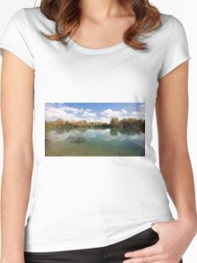 Ein Afek Nature Reserve on the Naaman River  Women's Fitted Scoop T-Shirt