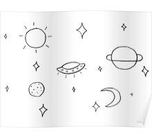 Sketchy Minimalist Universe Print (Black) Poster