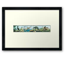 Iguanodon, Pteranodon, T Rex & Triceratops Frieze Framed Print