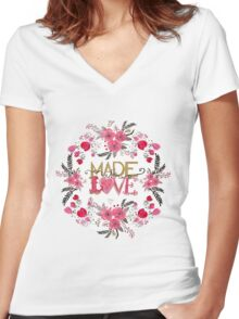 "Cute ""Made with Love"" floral watercolor hand paint Women's Fitted V-Neck T-Shirt"