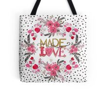 "Cute ""Made with Love"" floral watercolor hand paint Tote Bag"