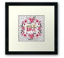 "Cute ""Made with Love"" floral watercolor hand paint Framed Print"