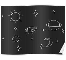 Sketchy Minimalist Universe Print (White) Poster