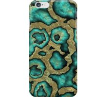 Funky Teal Turquoise Faux Gold Swirls Pattern iPhone Case/Skin