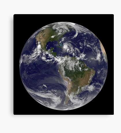 August 24, 2011 - Satellite view of the Full Earth with Hurricane Irene visible over the Bahamas. Canvas Print