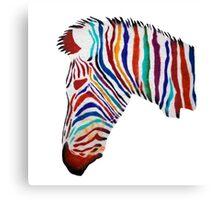 Colorful zebra rainbow smiling profile Canvas Print