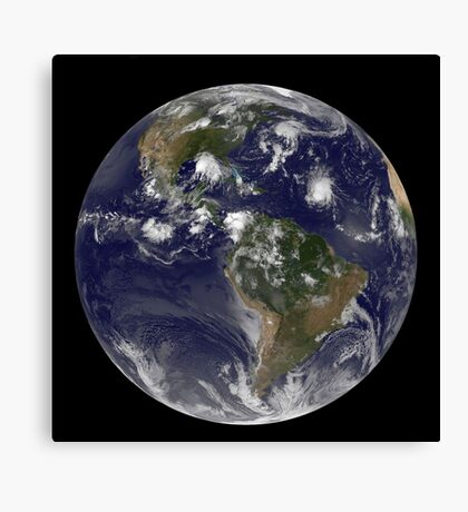 Full Earth showing tropical storms in the Atlantic Ocean. Canvas Print