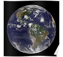 Full Earth showing tropical storms in the Atlantic Ocean. Poster