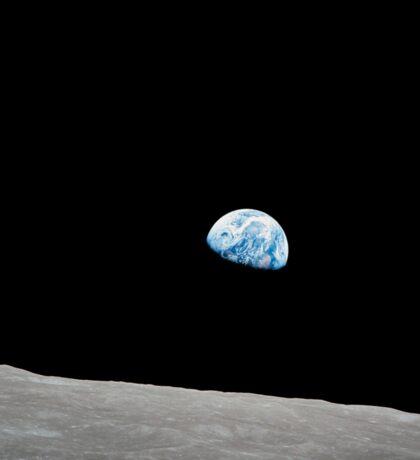 Earth rising above the lunar horizon. Sticker