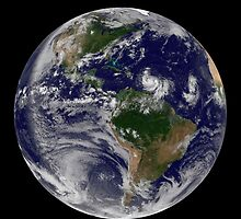Full Earth showing two tropical storms forming in the Atlantic Ocean. by StocktrekImages