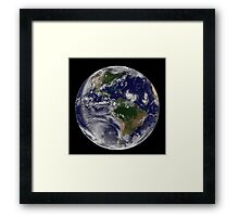 Full Earth showing two tropical storms forming in the Atlantic Ocean. Framed Print