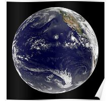 View of Earth showing three tropical cyclones in the Pacific Ocean. Poster