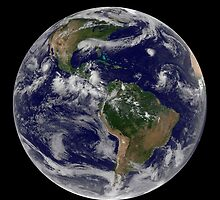 Full Earth showing various tropical storm systems. by StocktrekImages