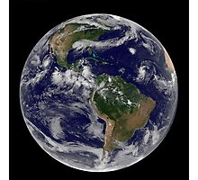 Full Earth showing various tropical storm systems. Photographic Print