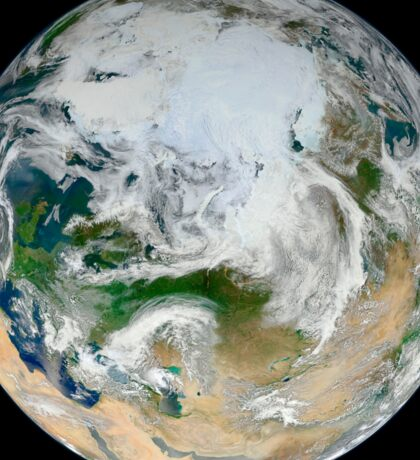 A synthesized view of Earth showing the Arctic, Europe and Asia. Sticker