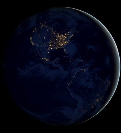 Full Earth at night showing city lights of the Americas. Sticker