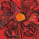 red flower power by paula cattermole artinapuddle