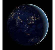 Full Earth at night showing city lights of Asia and Australia. Photographic Print