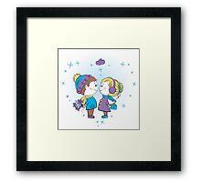 loving couple holding gifts Framed Print