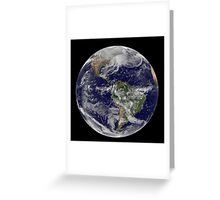 Satellite view of full Earth showing a powerful winter storm. Greeting Card