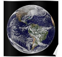 Satellite view of full Earth showing a powerful winter storm. Poster