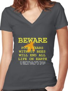 4 YEARS WITHOUT BEES Women's Fitted V-Neck T-Shirt