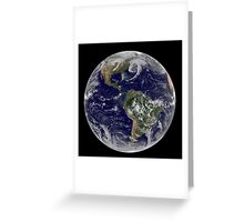 Satellite view of full Earth showing low pressure systems. Greeting Card