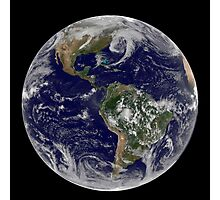 Satellite view of full Earth showing low pressure systems. Photographic Print