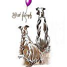Best friends purple balloon by Sabine Jacobsen [SJArt]