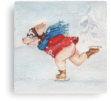 Skating with Super Pig  Canvas Print