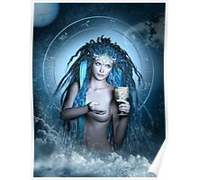 Aquarius Zodiac Fantasy Circle Poster