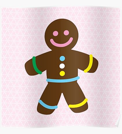 Cute Merry Christmas Gingerbread Man Poster