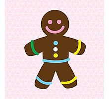 Cute Merry Christmas Gingerbread Man Photographic Print