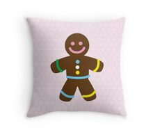 Cute Merry Christmas Gingerbread Man Throw Pillow