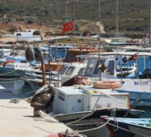Red Fishing Net and Fishing Boats in Datca Sticker