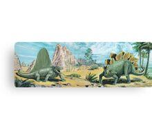 Dimetrodon & Stegosaurus Frieze Canvas Print