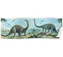 Brontosaurus & Diploducus Frieze Poster