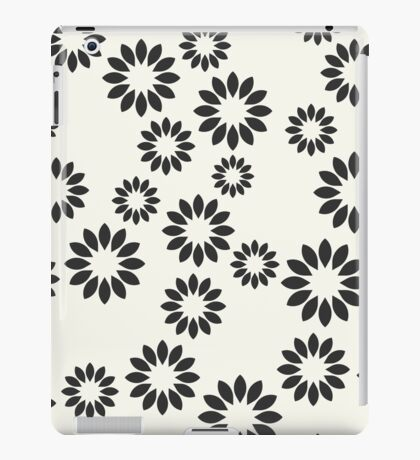 Monochrome seamless pattern. Chaotic abstract flowers. iPad Case/Skin