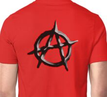 ANARCHY, ANARCHIST, Politics, Revolution, Protest, Disorder, Unrest, Symbol on red in black Unisex T-Shirt