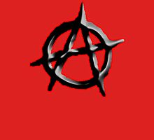 ANARCHY, ANARCHIST, Revolution, Protest, Disorder, Unrest, Symbol on red in black Unisex T-Shirt