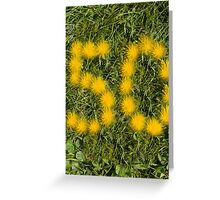 number fifty designed with dandelion on the lawn Greeting Card