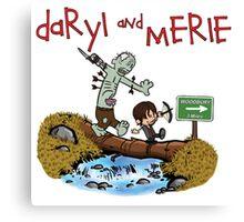 Daryl and Merle Dixon Calvin and Hobbes mash up Canvas Print