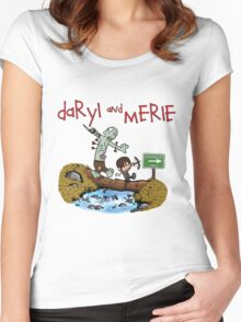 Daryl and Merle Dixon Calvin and Hobbes mash up Women's Fitted Scoop T-Shirt