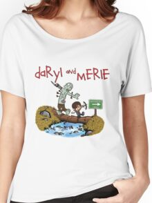 Daryl and Merle Dixon Calvin and Hobbes mash up Women's Relaxed Fit T-Shirt
