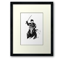 the last samurai riding Framed Print